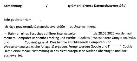 Abmahnung Google Analytics